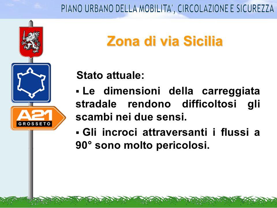 Zona di via Sicilia Stato attuale: Le dimensioni della carreggiata stradale rendono difficoltosi gli scambi nei due sensi. Gli incroci attraversanti i
