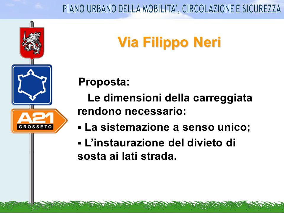 Via Filippo Neri Proposta: Le dimensioni della carreggiata rendono necessario: La sistemazione a senso unico; Linstaurazione del divieto di sosta ai l