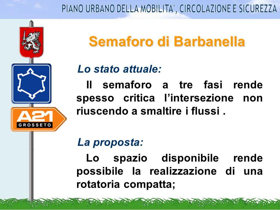Semaforo di Barbanella Lo stato attuale: Il semaforo a tre fasi rende spesso critica lintersezione non riuscendo a smaltire i flussi. La proposta: Lo