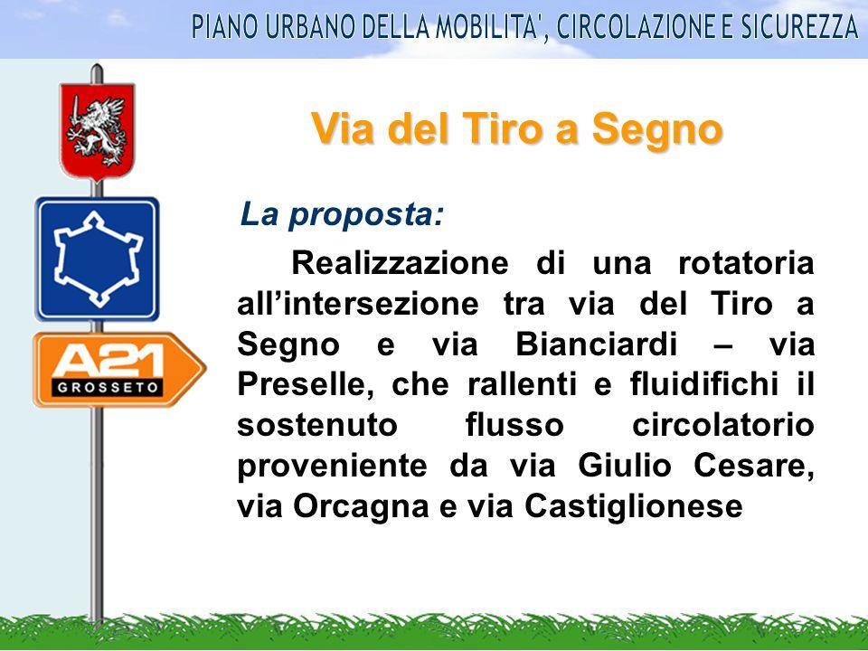 Via del Tiro a Segno La proposta: Realizzazione di una rotatoria allintersezione tra via del Tiro a Segno e via Bianciardi – via Preselle, che rallent