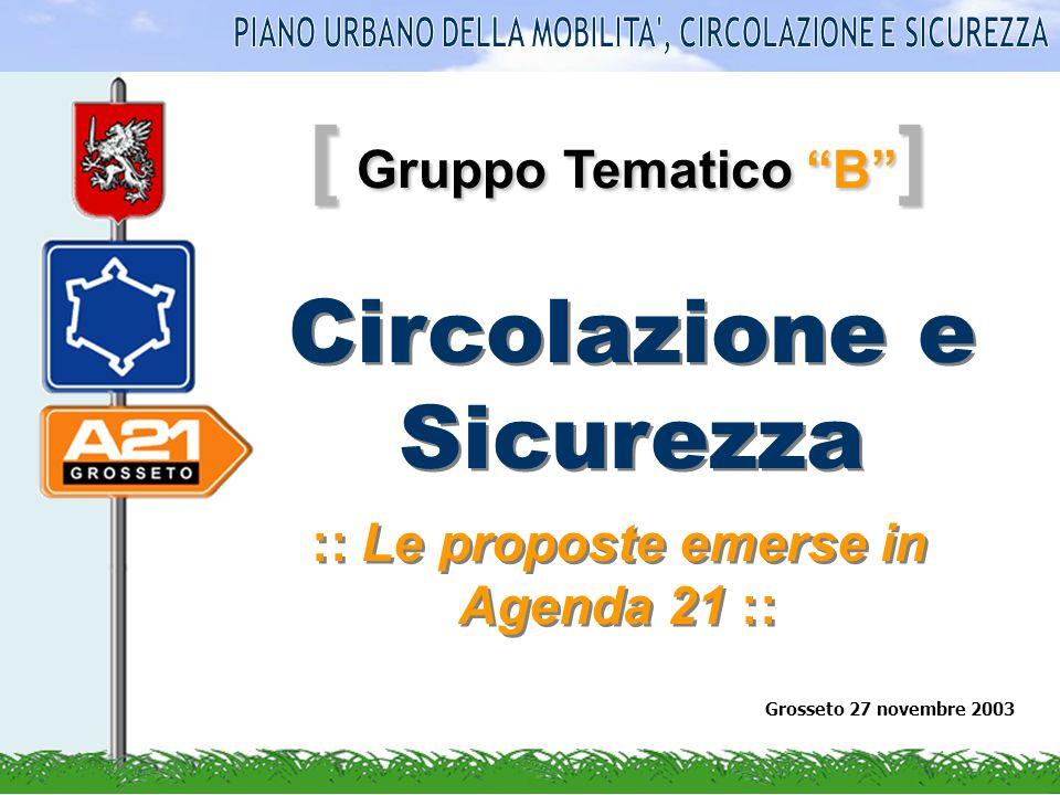 [ Gruppo Tematico B ] :: Le proposte emerse in Agenda 21 :: Grosseto 27 novembre 2003 Circolazione e Sicurezza