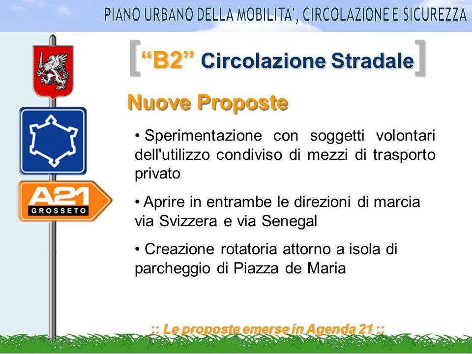 [ B2 Circolazione Stradale ] :: Le proposte emerse in Agenda 21 :: Nuove Proposte Sperimentazione con soggetti volontari dell'utilizzo condiviso di me