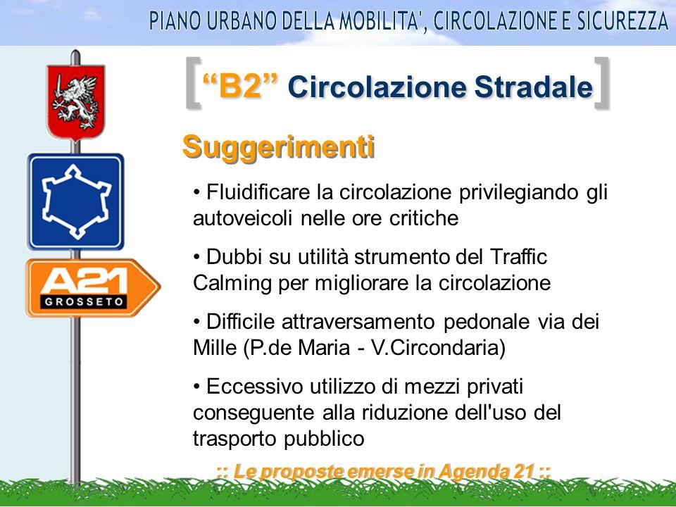 [ B2 Circolazione Stradale ] :: Le proposte emerse in Agenda 21 :: Suggerimenti Fluidificare la circolazione privilegiando gli autoveicoli nelle ore c