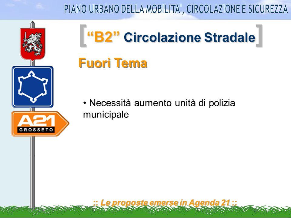 [ B2 Circolazione Stradale ] :: Le proposte emerse in Agenda 21 :: Fuori Tema Necessità aumento unità di polizia municipale