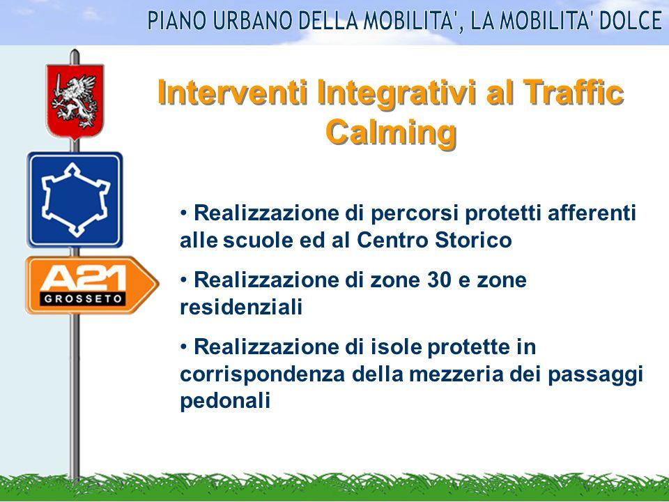 Interventi Integrativi al Traffic Calming Realizzazione di percorsi protetti afferenti alle scuole ed al Centro Storico Realizzazione di zone 30 e zon