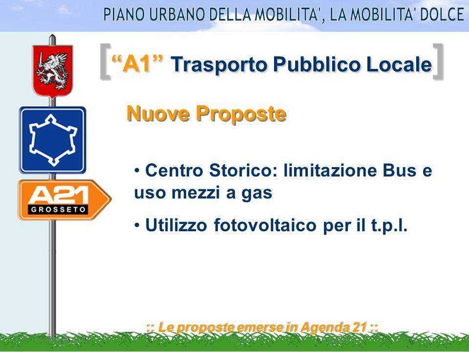 [ A1 Trasporto Pubblico Locale ] :: Le proposte emerse in Agenda 21 :: Nuove Proposte Centro Storico: limitazione Bus e uso mezzi a gas Utilizzo fotov