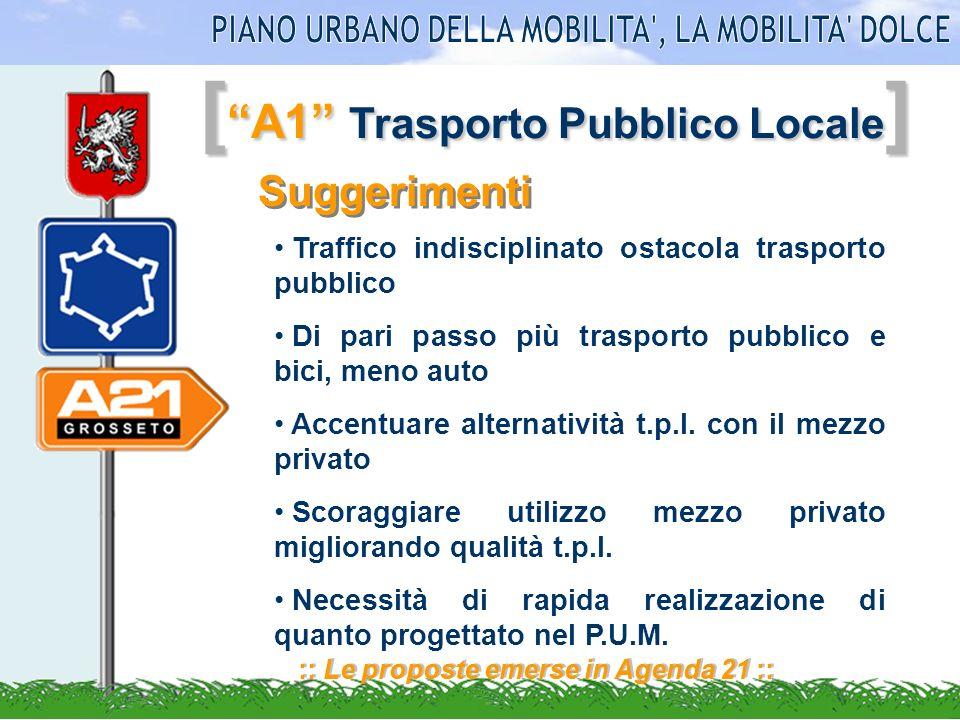 [ A1 Trasporto Pubblico Locale ] :: Le proposte emerse in Agenda 21 :: Suggerimenti Traffico indisciplinato ostacola trasporto pubblico Di pari passo