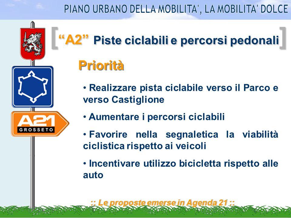 [ A2 Piste ciclabili e percorsi pedonali ] :: Le proposte emerse in Agenda 21 :: Priorità Realizzare pista ciclabile verso il Parco e verso Castiglion
