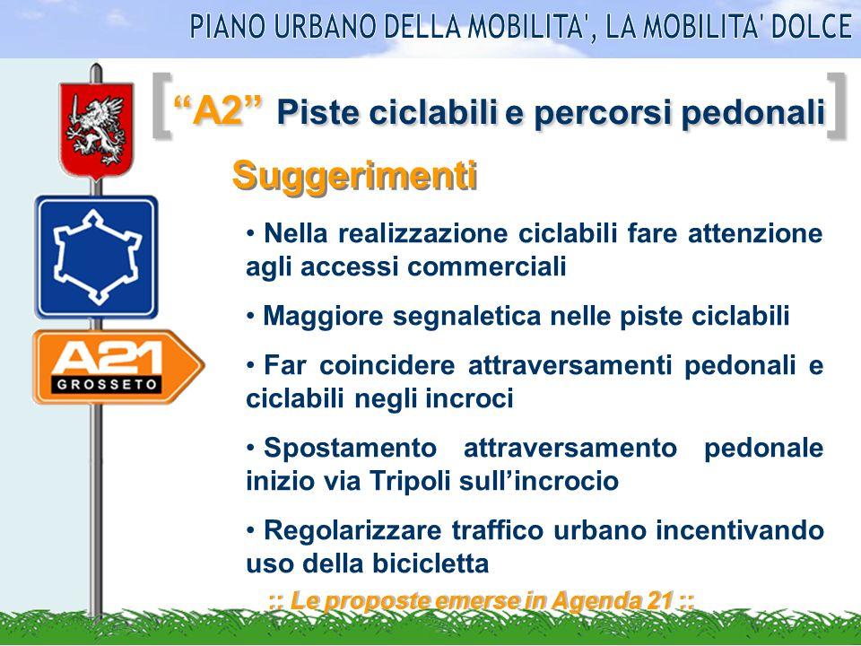 [ A2 Piste ciclabili e percorsi pedonali ] :: Le proposte emerse in Agenda 21 :: Suggerimenti Nella realizzazione ciclabili fare attenzione agli acces