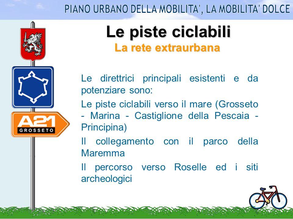 La rete extraurbana Le direttrici principali esistenti e da potenziare sono: Le piste ciclabili verso il mare (Grosseto - Marina - Castiglione della P