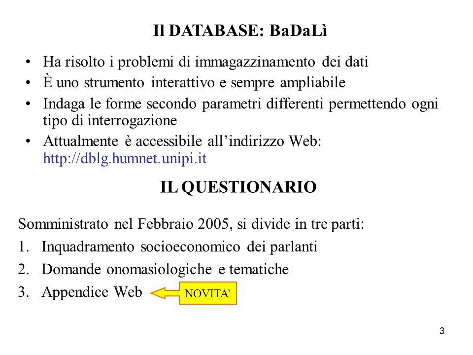 3 Ha risolto i problemi di immagazzinamento dei dati È uno strumento interattivo e sempre ampliabile Indaga le forme secondo parametri differenti permettendo ogni tipo di interrogazione Attualmente è accessibile allindirizzo Web: http://dblg.humnet.unipi.it Somministrato nel Febbraio 2005, si divide in tre parti: 1.Inquadramento socioeconomico dei parlanti 2.Domande onomasiologiche e tematiche 3.Appendice Web Il DATABASE: BaDaLì IL QUESTIONARIO NOVITA