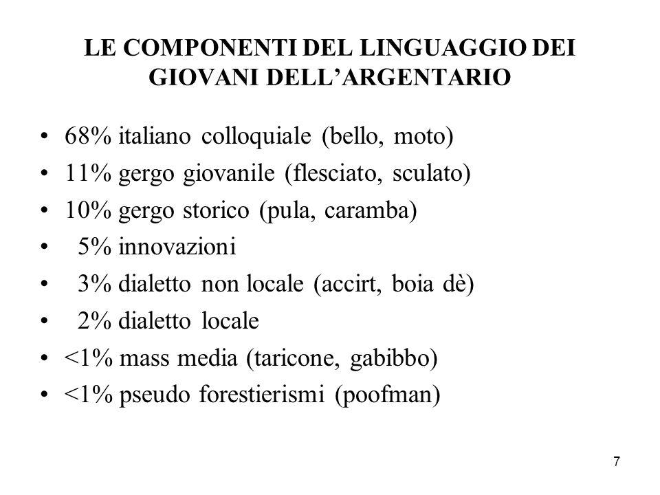 7 LE COMPONENTI DEL LINGUAGGIO DEI GIOVANI DELLARGENTARIO 68% italiano colloquiale (bello, moto) 11% gergo giovanile (flesciato, sculato) 10% gergo storico (pula, caramba) 5% innovazioni 3% dialetto non locale (accirt, boia dè) 2% dialetto locale <1% mass media (taricone, gabibbo) <1% pseudo forestierismi (poofman)