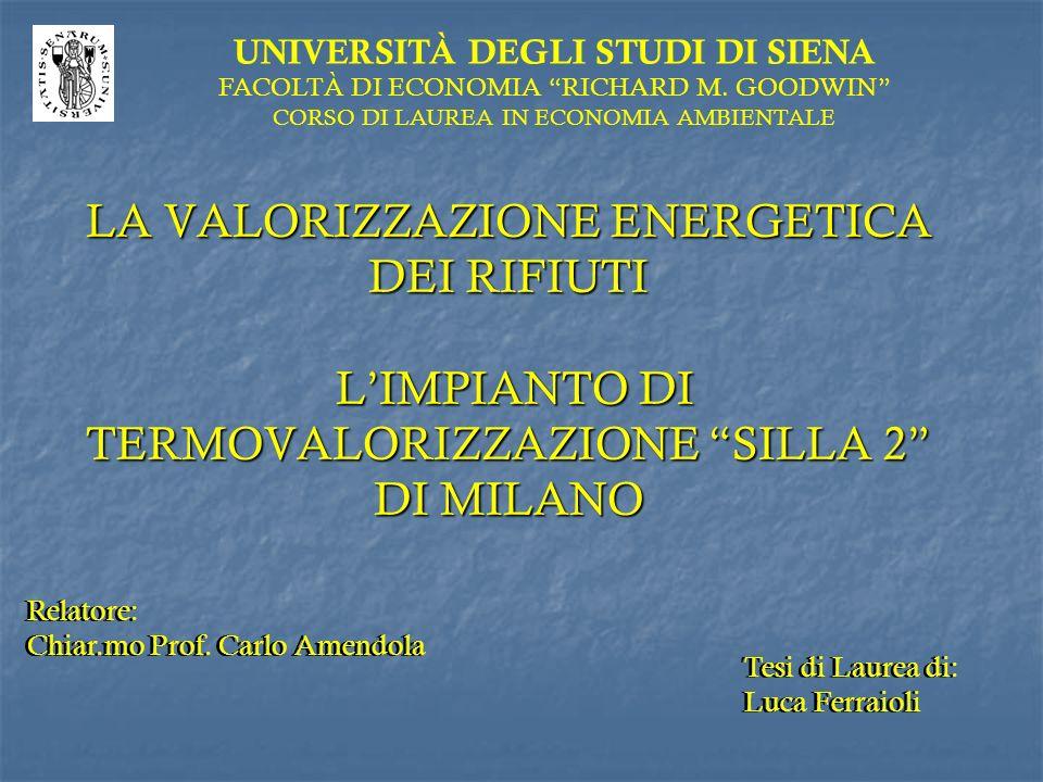 LA VALORIZZAZIONE ENERGETICA DEI RIFIUTI LIMPIANTO DI TERMOVALORIZZAZIONE SILLA 2 DI MILANO UNIVERSITÀ DEGLI STUDI DI SIENA FACOLTÀ DI ECONOMIA RICHAR