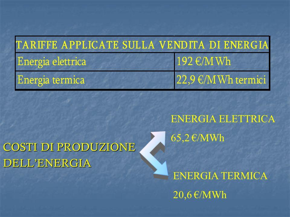 Il prezzo dellenergia elettrica è determinato allapplicazione del CIP6 per la produzione da fonti rinnovabili e quindi è stabilito a livello nazionale.