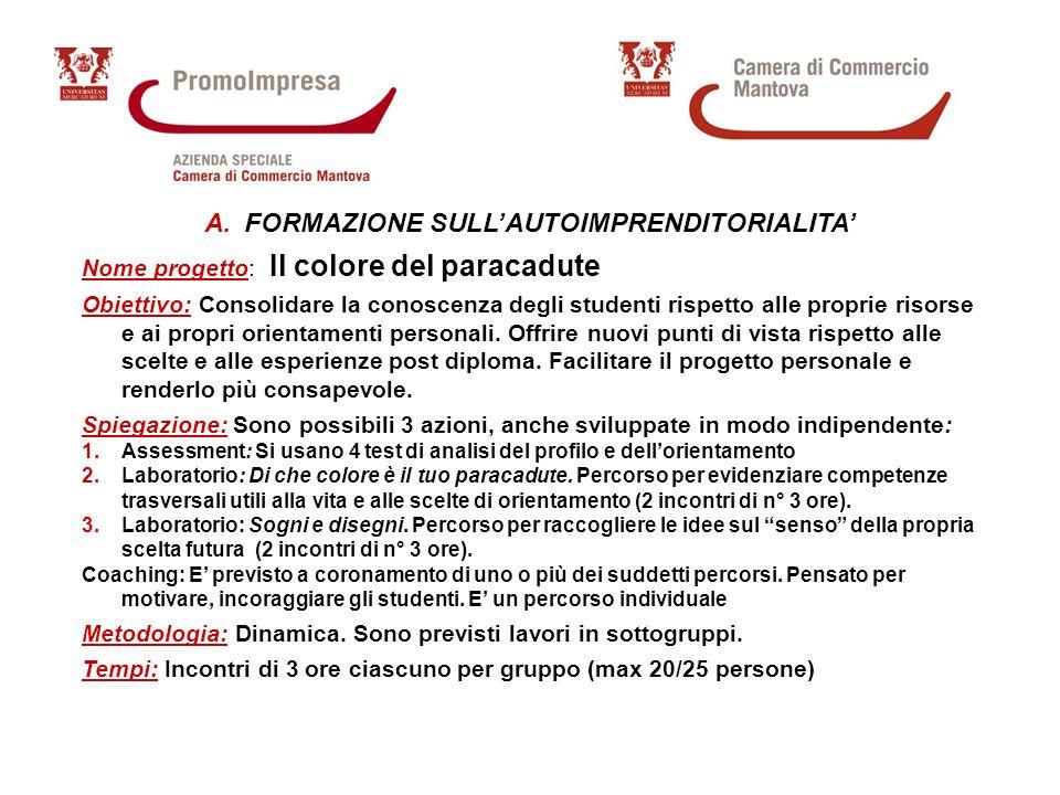 A.FORMAZIONE SULLAUTOIMPRENDITORIALITA Nome progetto: Il colore del paracadute Obiettivo: Consolidare la conoscenza degli studenti rispetto alle proprie risorse e ai propri orientamenti personali.