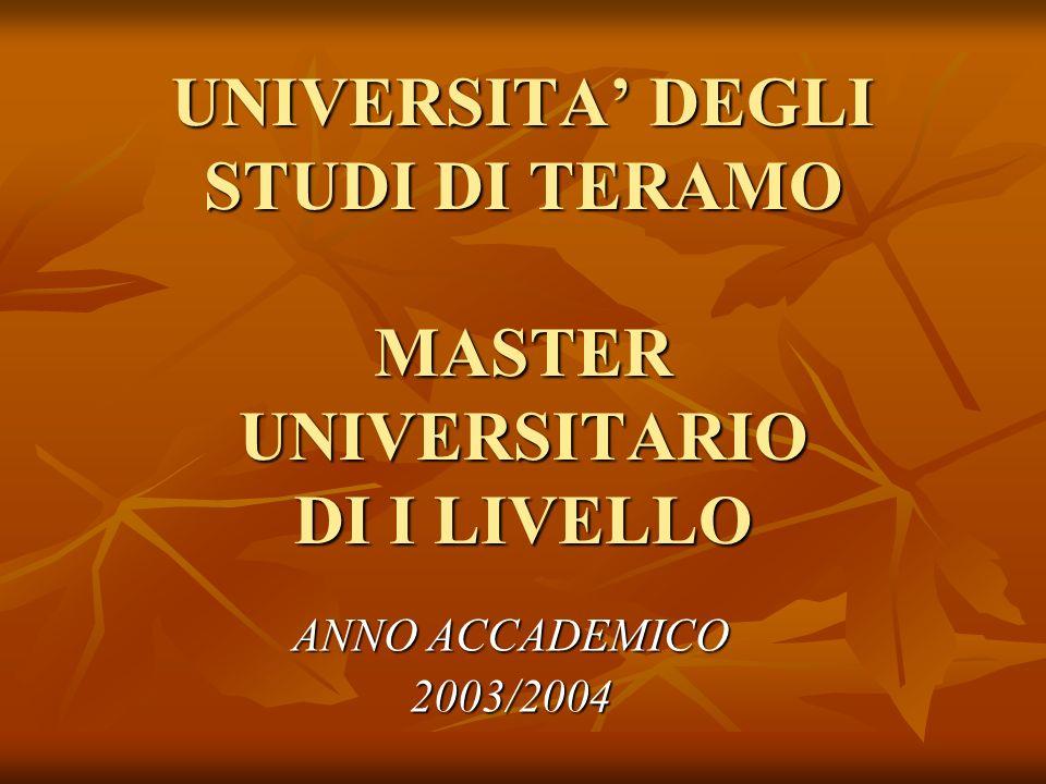 UNIVERSITA DEGLI STUDI DI TERAMO MASTER UNIVERSITARIO DI I LIVELLO ANNO ACCADEMICO 2003/2004