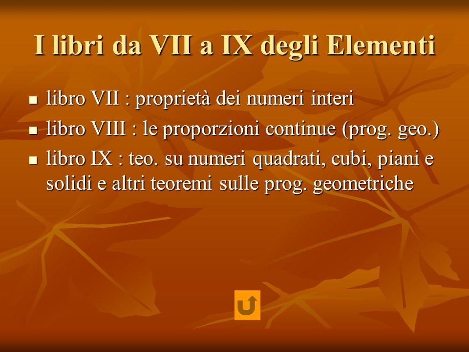I libri da VII a IX degli Elementi libro VII : proprietà dei numeri interi libro VII : proprietà dei numeri interi libro VIII : le proporzioni continu