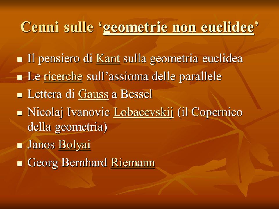 Cenni sulle geometrie non euclidee geometrie non euclideegeometrie non euclidee Il pensiero di Kant sulla geometria euclidea Il pensiero di Kant sulla