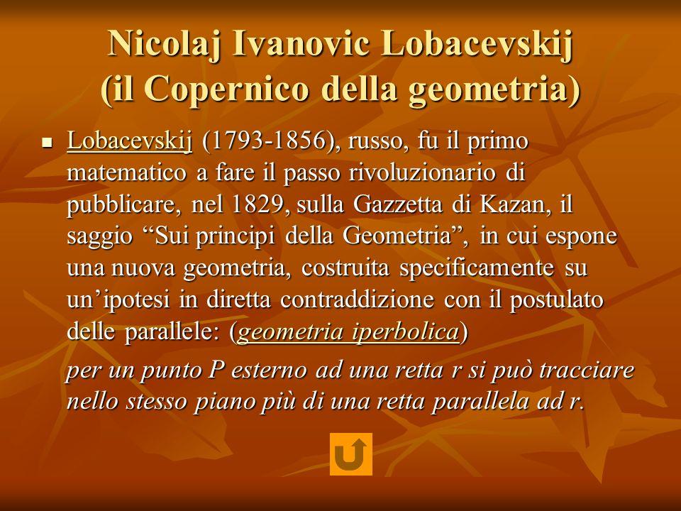 Nicolaj Ivanovic Lobacevskij (il Copernico della geometria) Lobacevskij (1793-1856), russo, fu il primo matematico a fare il passo rivoluzionario di p