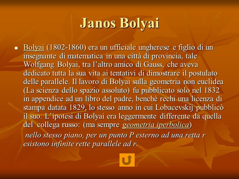 Janos Bolyai Bolyai (1802-1860) era un ufficiale ungherese e figlio di un insegnante di matematica in una città di provincia, tale Wolfgang Bolyai, tr