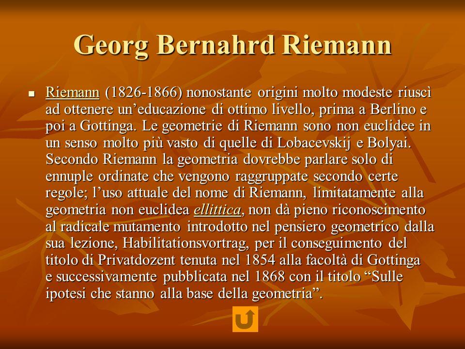 Georg Bernahrd Riemann Riemann (1826-1866) nonostante origini molto modeste riuscì ad ottenere uneducazione di ottimo livello, prima a Berlino e poi a