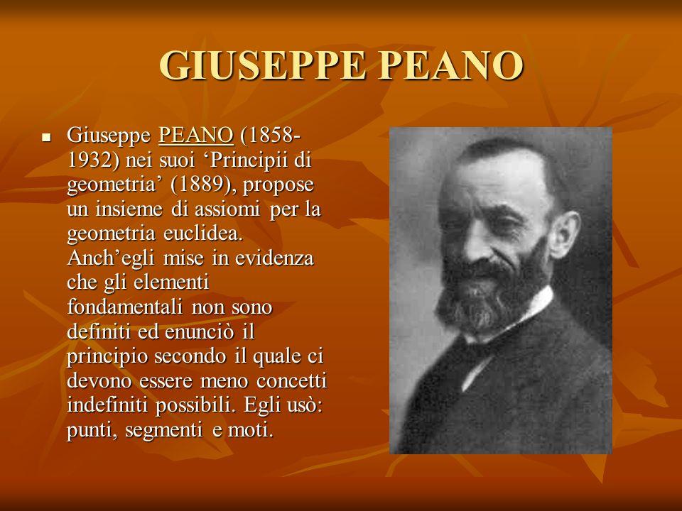 GIUSEPPE PEANO Giuseppe PEANO (1858- 1932) nei suoi Principii di geometria (1889), propose un insieme di assiomi per la geometria euclidea. Anchegli m