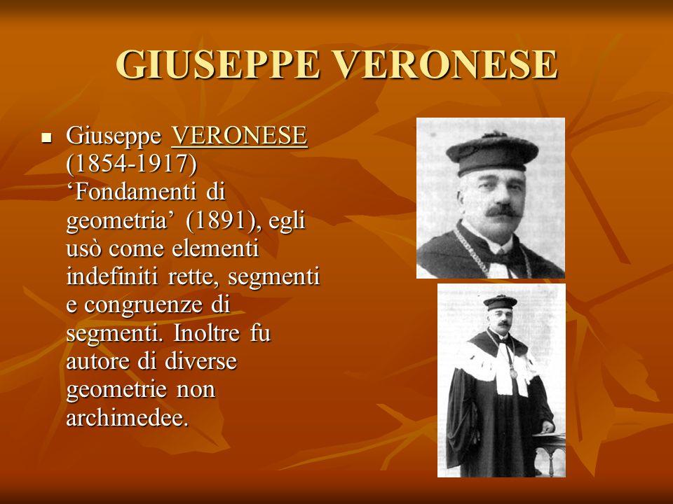 GIUSEPPE VERONESE Giuseppe VERONESE (1854-1917) Fondamenti di geometria (1891), egli usò come elementi indefiniti rette, segmenti e congruenze di segm