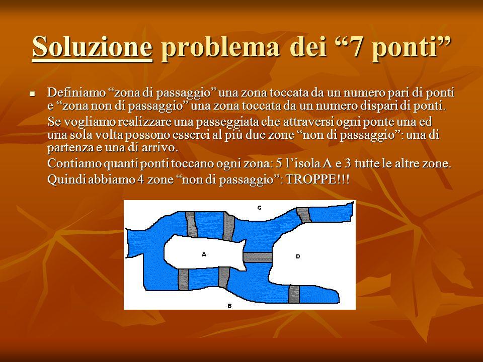 SoluzioneSoluzione problema dei 7 ponti Soluzione Definiamo zona di passaggio una zona toccata da un numero pari di ponti e zona non di passaggio una