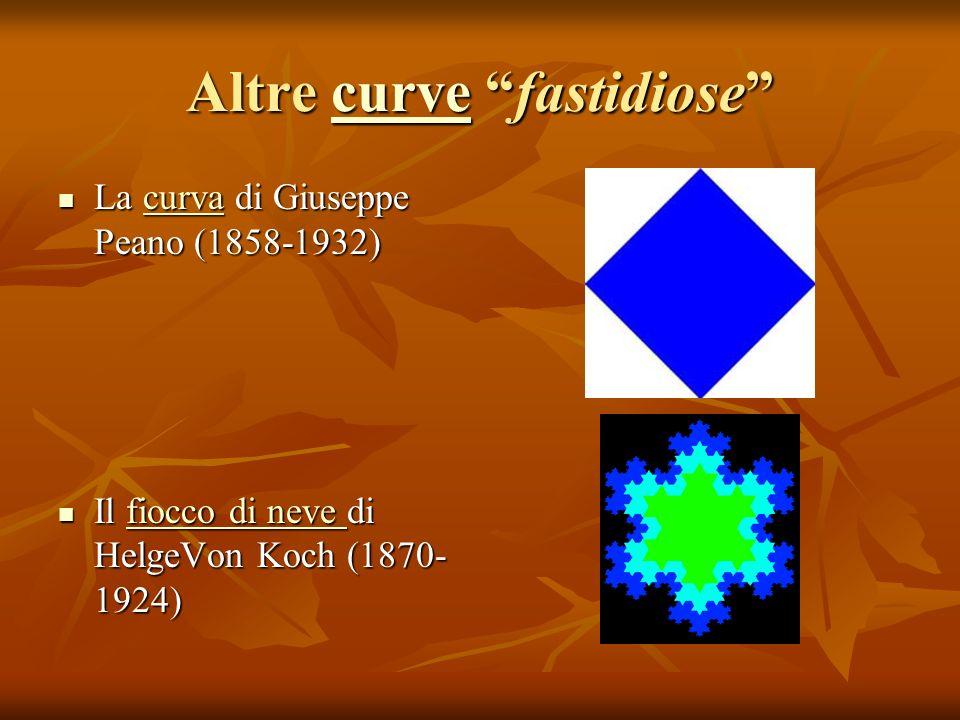 Altre curve fastidiose curve La curva di Giuseppe Peano (1858-1932) La curva di Giuseppe Peano (1858-1932)curva Il fiocco di neve di HelgeVon Koch (18