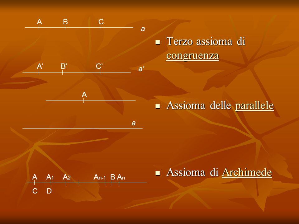 a ABC a CBA A a Terzo assioma di congruenza Terzo assioma di congruenza congruenza Assioma delle parallele Assioma delle paralleleparallele Assioma di