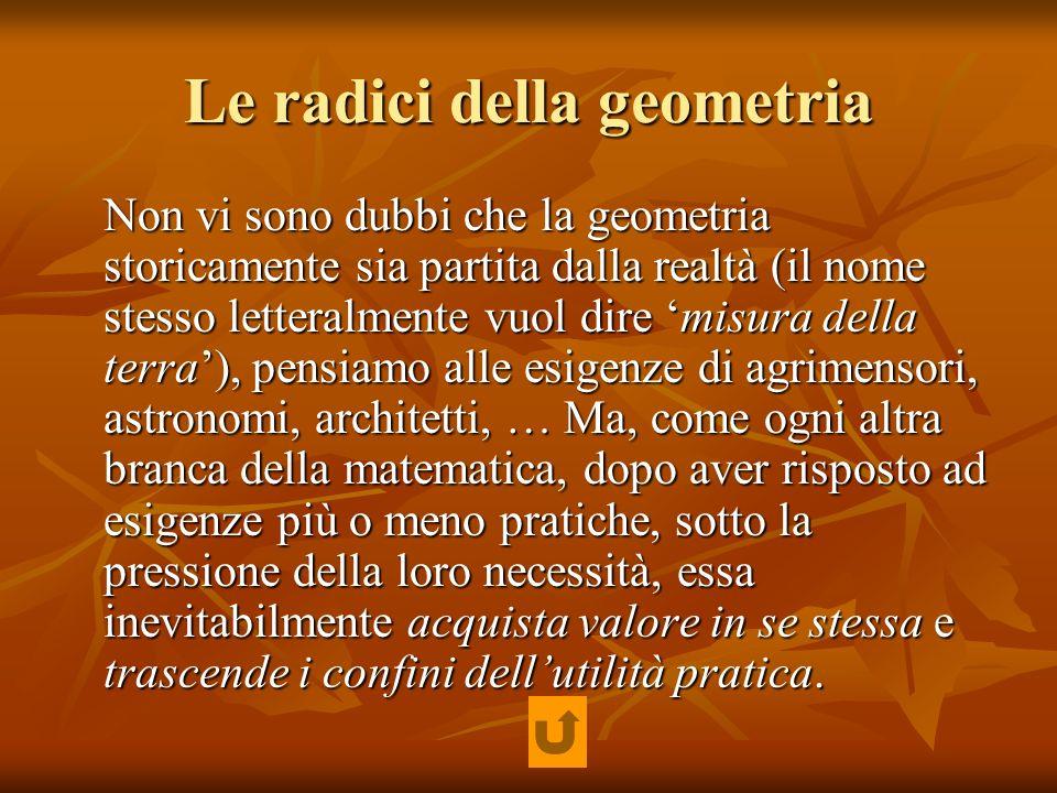 Le radici della geometria Non vi sono dubbi che la geometria storicamente sia partita dalla realtà (il nome stesso letteralmente vuol dire misura dell