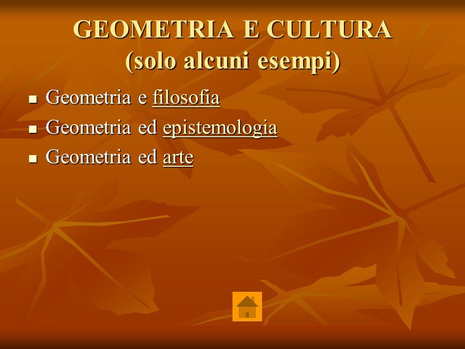 GEOMETRIA E CULTURA (solo alcuni esempi) Geometria e filosofia Geometria e filosofiafilosofia Geometria ed epistemologia Geometria ed epistemologiaepi