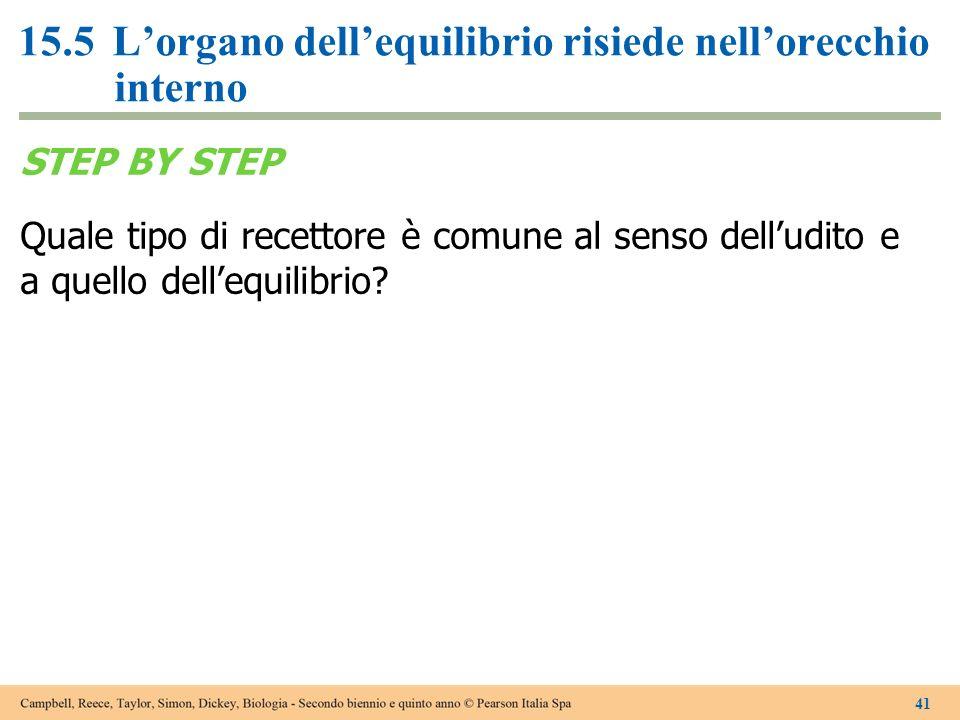 15.5Lorgano dellequilibrio risiede nellorecchio interno STEP BY STEP Quale tipo di recettore è comune al senso delludito e a quello dellequilibrio? 41