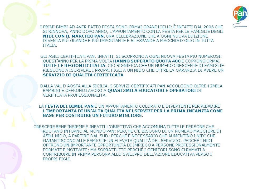I PRIMI BIMBI AD AVER FATTO FESTA SONO ORMAI GRANDICELLI: È INFATTI DAL 2006 CHE SI RINNOVA, ANNO DOPO ANNO, LAPPUNTAMENTO CON LA FESTA PER LE FAMIGLIE DEGLI NIDI CON IL MARCHIO PAN.