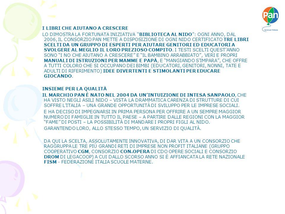I LIBRI CHE AIUTANO A CRESCERE LO DIMOSTRA LA FORTUNATA INIZIATIVA BIBLIOTECA AL NIDO: OGNI ANNO, DAL 2006, IL CONSORZIO PAN METTE A DISPOSIZIONE DI OGNI NIDO CERTIFICATO TRE LIBRI SCELTI DA UN GRUPPO DI ESPERTI PER AIUTARE GENITORI ED EDUCATORI A SVOLGERE AL MEGLIO IL LORO PREZIOSO COMPITO.