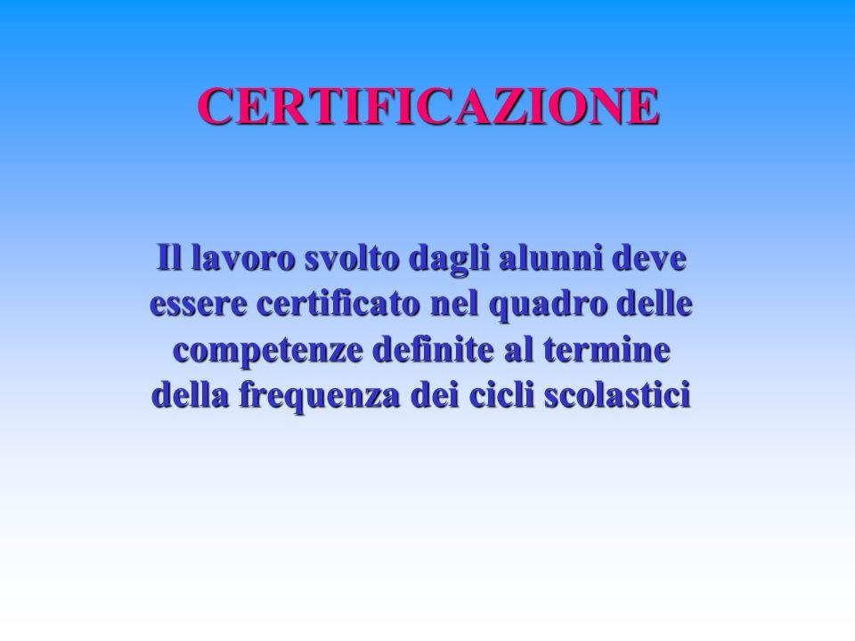 CERTIFICAZIONE Il lavoro svolto dagli alunni deve essere certificato nel quadro delle competenze definite al termine della frequenza dei cicli scolastici