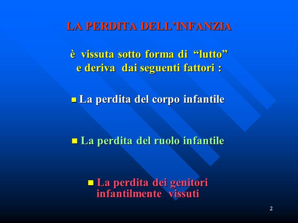 2 LA PERDITA DELLINFANZIA è vissuta sotto forma di lutto e deriva dai seguenti fattori : La perdita del corpo infantile La perdita del corpo infantile