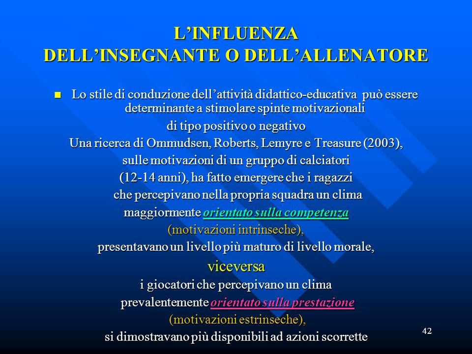 42 LINFLUENZA DELLINSEGNANTE O DELLALLENATORE Lo stile di conduzione dellattività didattico-educativa può essere determinante a stimolare spinte motiv