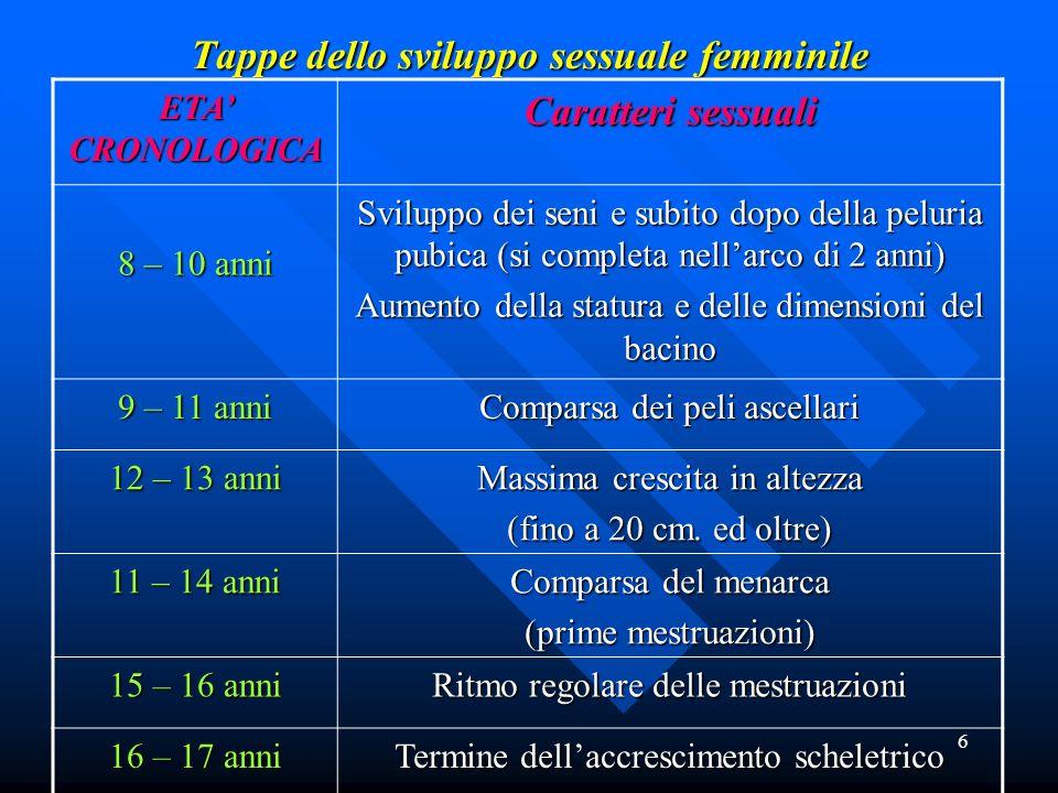 6 Tappe dello sviluppo sessuale femminile Tappe dello sviluppo sessuale femminile ETA CRONOLOGICA Caratteri sessuali 8 – 10 anni Sviluppo dei seni e s