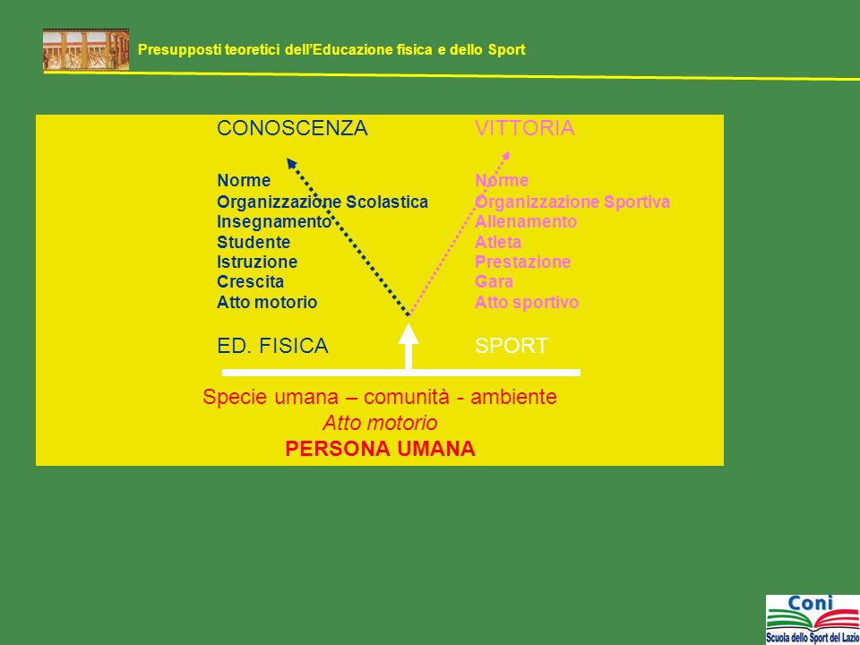 CONOSCENZAVITTORIA Norme Organizzazione ScolasticaOrganizzazione Sportiva InsegnamentoAllenamento StudenteAtleta IstruzionePrestazione CrescitaGara At