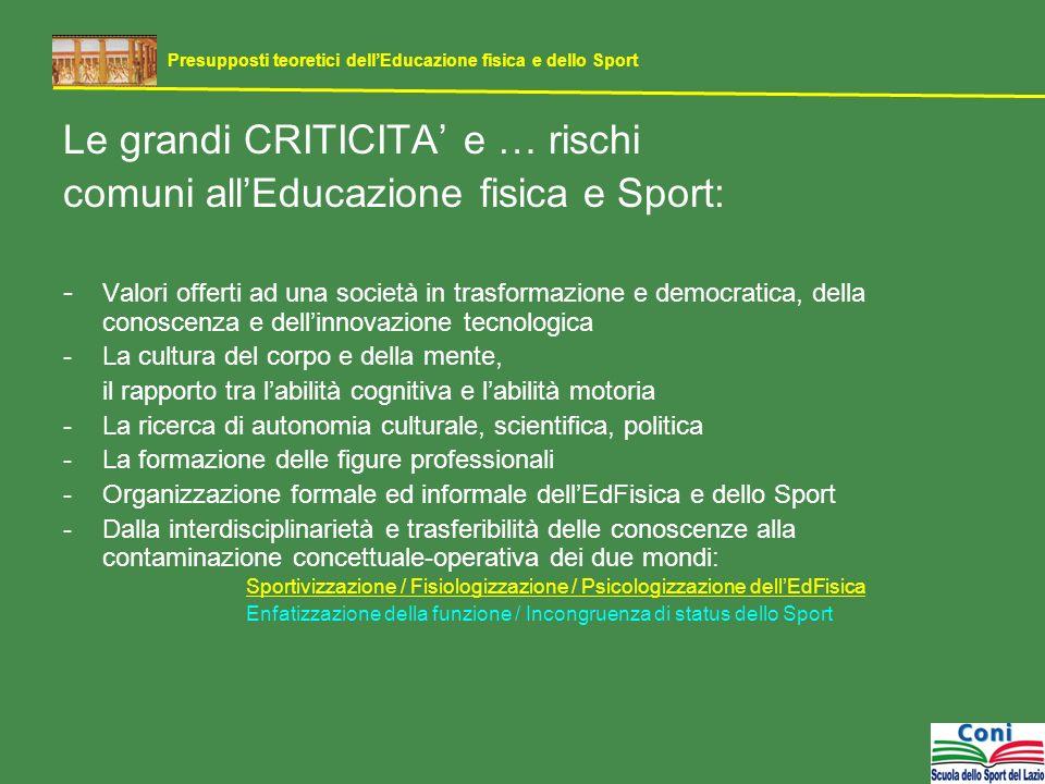 Le grandi CRITICITA e … rischi comuni allEducazione fisica e Sport: - Valori offerti ad una società in trasformazione e democratica, della conoscenza