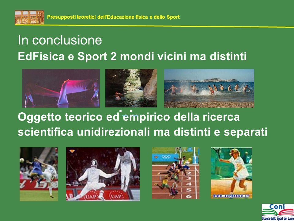 In conclusione EdFisica e Sport 2 mondi vicini ma distinti Oggetto teorico ed empirico della ricerca scientifica unidirezionali ma distinti e separati Presupposti teoretici dellEducazione fisica e dello Sport