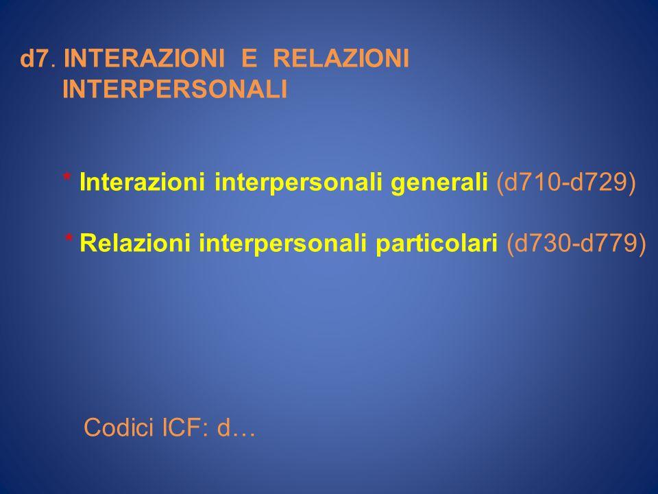 d7. INTERAZIONI E RELAZIONI INTERPERSONALI * Interazioni interpersonali generali (d710-d729) * Relazioni interpersonali particolari (d730-d779) Codici