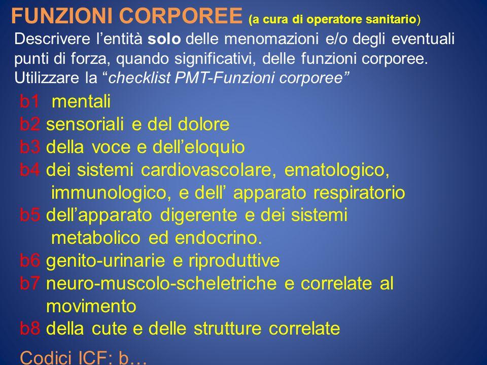 FUNZIONI CORPOREE (a cura di operatore sanitario) Descrivere lentità solo delle menomazioni e/o degli eventuali punti di forza, quando significativi, delle funzioni corporee.