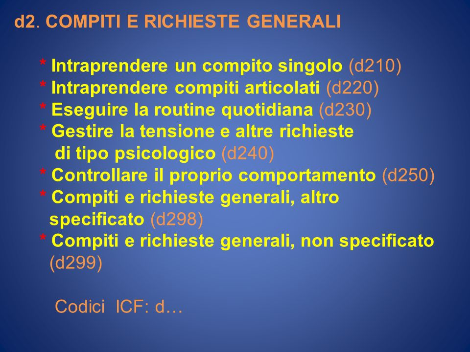 d2. COMPITI E RICHIESTE GENERALI * Intraprendere un compito singolo (d210) * Intraprendere compiti articolati (d220) * Eseguire la routine quotidiana