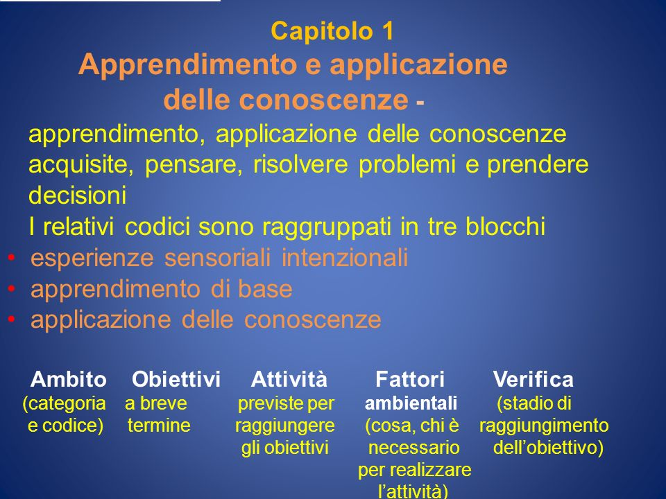 Capitolo 1 Apprendimento e applicazione delle conoscenze - apprendimento, applicazione delle conoscenze acquisite, pensare, risolvere problemi e prend