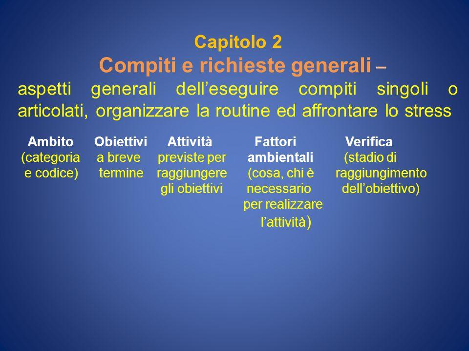 Capitolo 2 Compiti e richieste generali – aspetti generali delleseguire compiti singoli o articolati, organizzare la routine ed affrontare lo stress A