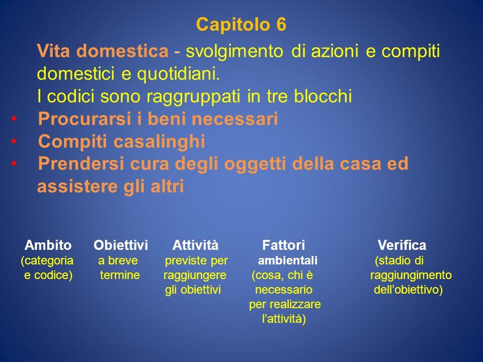 Capitolo 6 Vita domestica - svolgimento di azioni e compiti domestici e quotidiani. I codici sono raggruppati in tre blocchi Procurarsi i beni necessa