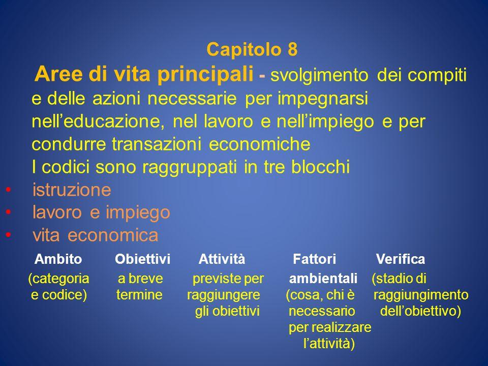 Capitolo 8 Aree di vita principali - svolgimento dei compiti e delle azioni necessarie per impegnarsi nelleducazione, nel lavoro e nellimpiego e per c