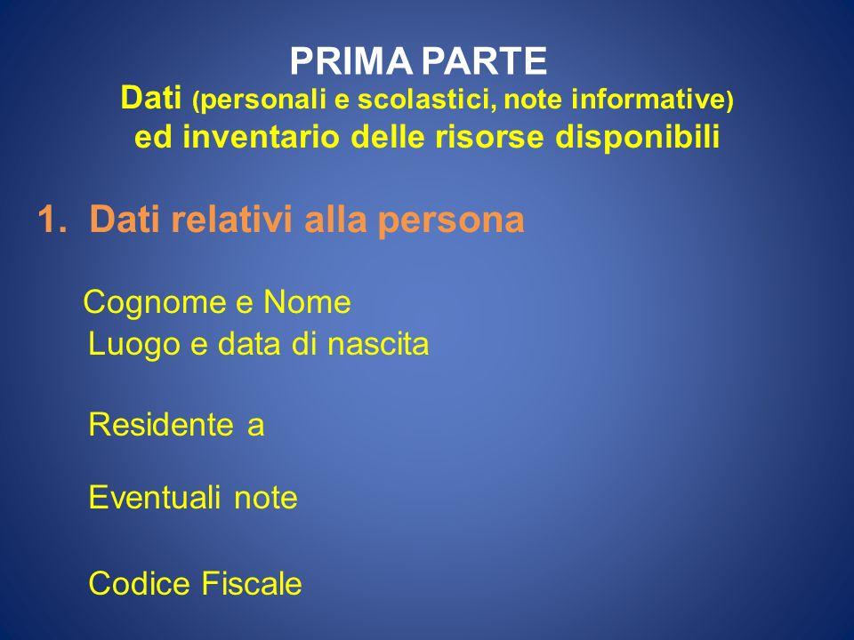 PRIMA PARTE Dati ( personali e scolastici, note informative ) ed inventario delle risorse disponibili 1. Dati relativi alla persona Cognome e Nome Luo